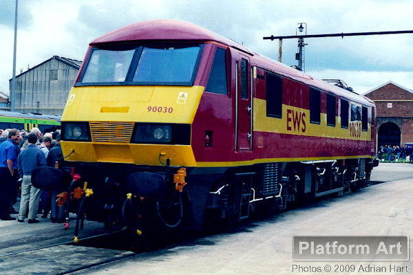 EWS Class 90 90030 is seen just prior to being named Crewe Locomotive Works at the Adtranz Open Day held on 20th May 2000.