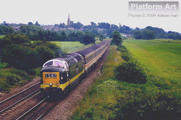 In slightly overcast conditions and running approximately 60 minutes late, Deltic D9000 Royal Scots Grey is seen passing Kings Sutton on 20th June 1998 with the 11.26 Ramsgate - Edinburgh service.