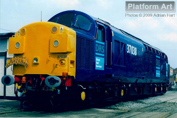 Direct Rail Services Class 37 37038 makes a fine sight on display at Crewe Works Open Day on 20th May 2003.