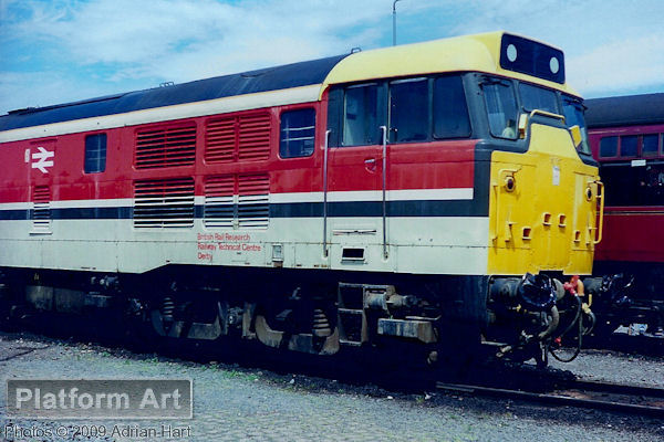 Converted for use at the Derby Railway Technical Centre from a Class 31 locomotive, 97204 is seen on display at Coalville Open Day on 11th June 1989. The locomotive was damaged beyond economic repair by fire a number of weeks later.
