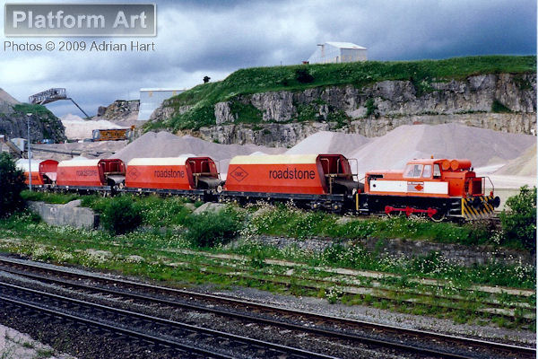 An RMC Roadstone diesel shunter is seen at Peak Dale Quarry near Buxton on 15th July 1991.