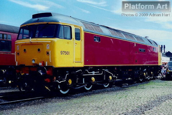 Derby Railway Technical Centre Class 47 locomotive 97561 Midland Railway Counties 150 1839-1989, is seen on display at Coalville Open Day on 11th June 1989.