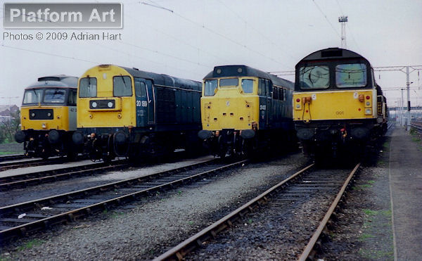 Stabled in the yards at Bescot on 22nd April 1989 are Class 47 47357, Class 20 20189, Class 31 31435 and Class 58 58001.