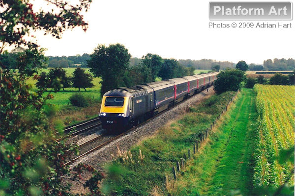 First Great Western HST power car 43110 leads the 13.42 London Paddington - Worcester Shrub Hill service as it approaches Moreton-in-Marsh on 28th September 2008.