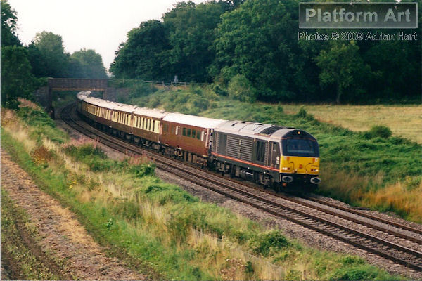 EWS Class 67 locomotive 67006 Royal Sovereign passes Croome Perry near Pershore on 30th August 2008 with the slightly delayed 17.19 Worcester Shrub Hill - London Victoria VSOE service.