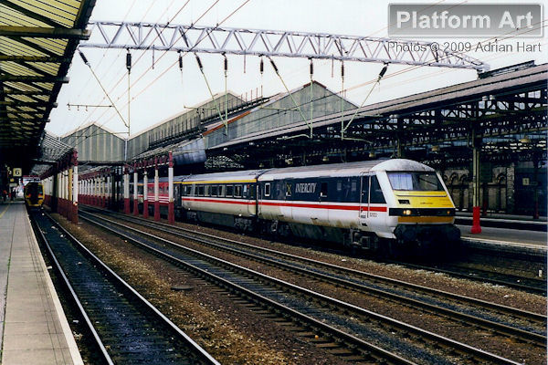 Inter City DVT 82123 leaves Crewe on 17th March 1998 at the head of a southbound express for London Euston.