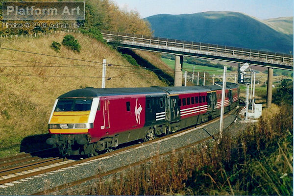 Virgin West Coast DVT 82117 heads south at Beck Foot between Penrith and Oxenholme on 30th October 2002 with an express from Glasgow Central - London Euston.