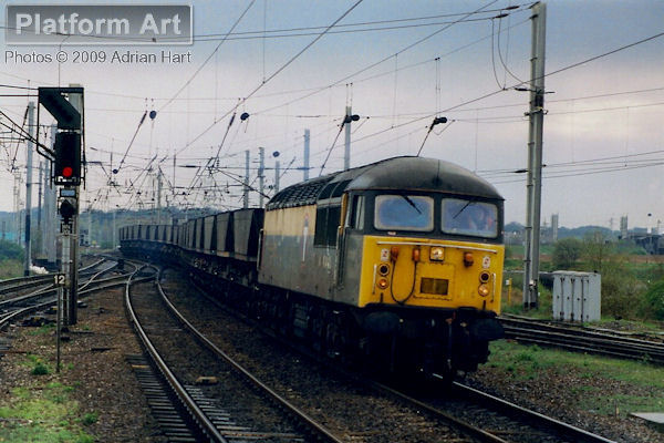 Transrail liveried Class 56 56036 leaves Warrington Arpley Yard on 7th April 1998 with a northbound MGR coal service.