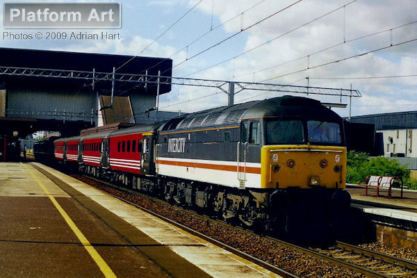 Inter City Class 47 47853 leaves Birmingham International on 18th July 1998 with the southbound Sussex Scot service from Glasgow Central to Brighton.