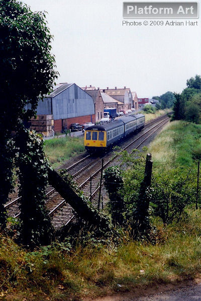 Class 108 DMU, Chester set CH351 leaves Shifnal on 16th July 1990 with the 10.50 Chester - Wolverhampton service.